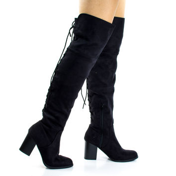 Aspen Black F-Suede by Soda, Black Corset Lace Up Military Inspired Over Knee Boots w High Block Stack Heel