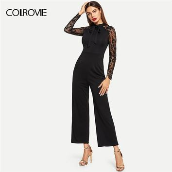 COLROVIE Black Stand Collar Tie Neck Lace Skinny Elegant Jumpsuit Women Clothing 2018 Winter Long Sleeve Office Casual Romper