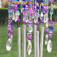 Wind chime / sun catcher, beaded, unique.  Midnight in the Garden - Outdoor chandelier. A perfect gift or garden art.