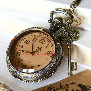 big size transparent Pocket watch Locket Necklace, royal key and crystal- SALE