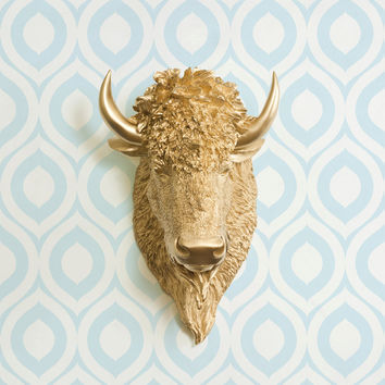 The Yellowstone Gold Faux Bison Head