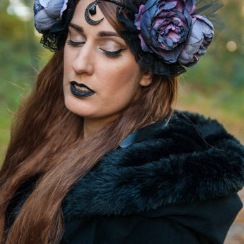 Purple Black Headdress - Luna