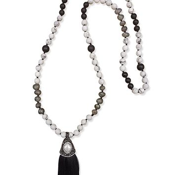 MGR Mala Beads Long Beaded Semiprecious Stone Statement Necklace with Druzy Cap Tassels.