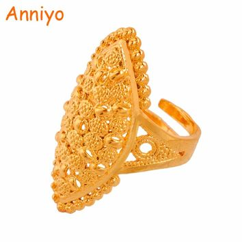 Anniyo Arab Gold Color Free Size Ring for Women/Teenager,Middle East Dubai Wedding Jewelry Ethiopian African Party Gift #093806