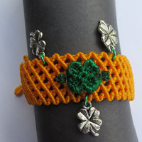 4LeafClover Bracelet,Orange Woven Adjustable Bracelet, Green 4 Leaf Clover, Antiqued Silver Shamrock Charm, St. Patricks Day, Boho Jewelry