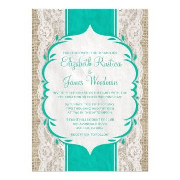 Turquoise Vintage Linen Burlap Wedding Invitations