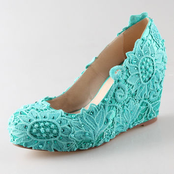 Handmade aqua blue turquoise lace rhinestone pearl wedge shoes elegant bridal wedding party prom shoes