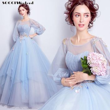 SOCCI Weekend Sky Blue Long sleeves Evening Dress formal wedding party Dresses Flowers Beading Sequined Gowns vestido de festa