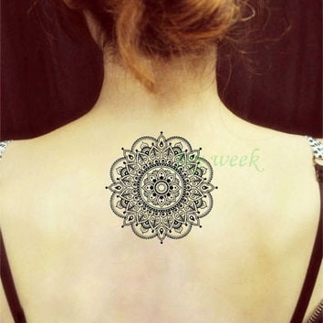 Waterproof Temporary Tattoo Sticker flower lotus mandala mehndi tattoo Water Transfer fake tattoo flash tattoo for girl women