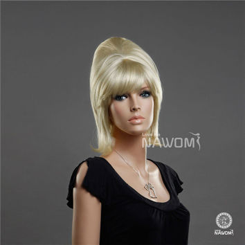 NAWOMI Neat Bangs 100% Kanekalon Straight Synthetic Wig Golden Capless Women