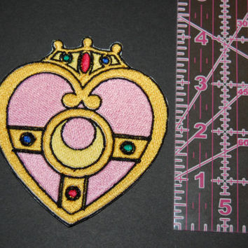 Sailor Moon and Sailor Chibi Moon Cosmic Heart Compact Iron On Patch