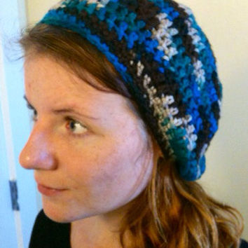 Crochet Slouchy Hat Crochet Beanie Women's Slouchy Hat Loose Beanie Oversized  Hat  Green Hat Blue Hat