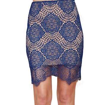 Blue Floral Crochet Skirt