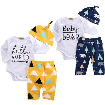 3pcs Baby Coming Home Outfits Set Newborn Girl Boy Baby Clothes Set Bear Cotton Romper Pants Cute Hat