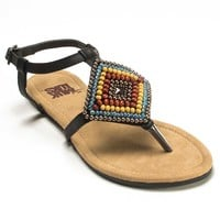MUK LUKS Aria Women's Beaded Thong Sandals (Black)