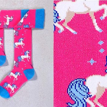 MYSTICAL, WOMEN'S KNEE-HIGH SOCK, UNICORNS & STA