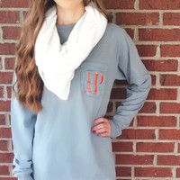Monogrammed Comfort Colors Long Sleeve Pocket Tee, Monogram Pocket Tshirt, Monogram Beach Summer Shirt, Bridesmaid Tees, T-shirt Gift