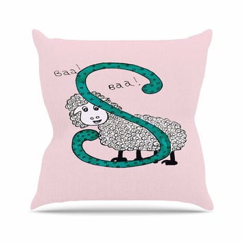 "Rosie Brown ""Sis for Sheep Pink"" Pink Teal Throw Pillow"