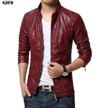 New Fashion PU Leather Jacket Men Black Red Brown Solid Mens Trend Slim Fit Youth Motorcycle Suede Jacket And Coat Male