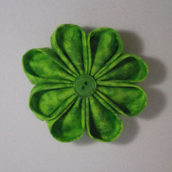 Green Kanzashi Inspired Fabric Flower for Headband