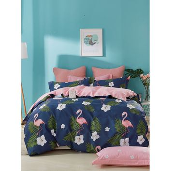 Flamingos & Flower Print Duvet Cover