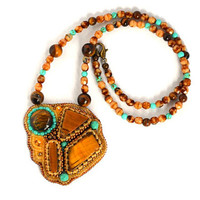 Tiger Eye Turquoise Bead Bmbroidered Necklace Tiger Eye Gemstone Pendant Beaded Necklace Unique Pendant Beadwork Necklace Seed Bead Necklace