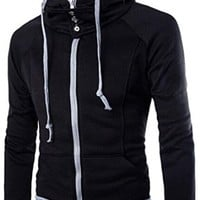 jeansian Men's Casual Zipper Hoodie SweatShirt Coat 9358