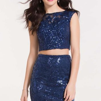 Alyce Paris - 4465 Two Piece Sequined Cap Sleeves Short Dress