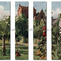 Printable landscape bookmarks - 4 bookmarks make a single scenery - Instant Download pdf+jpg files - 4 bookmarks in 1 collage sheet