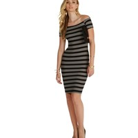 Black Oh So Cute Striped Midi Dress