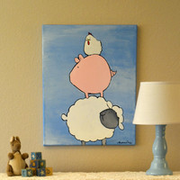 Farm Animals Paintings Whimsical Chicken Pig Sheep by andralynn