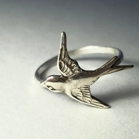 Swallow Ring Hammered Sterling Silver Ring by fifthheaven on Etsy