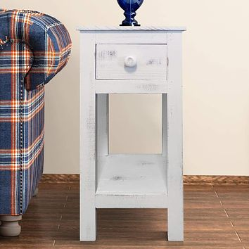 Rough Sawn Textured Wooden Side Accent Table With Drawer, Antique White By The Urban Port