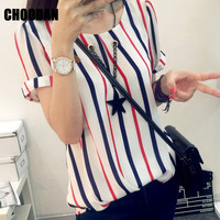 Women Blouses Shirts Short Sleeve Summer 2017 Fashion Korean Style Chiffon Striped Shirt Ladies Tops Plus Size Female Clothing