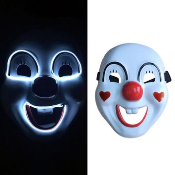 Halloween Mask El Cold Light Glow Mask Love Joy Clown Halloween Bar KTV Holiday Dance Led Flash Face Mask