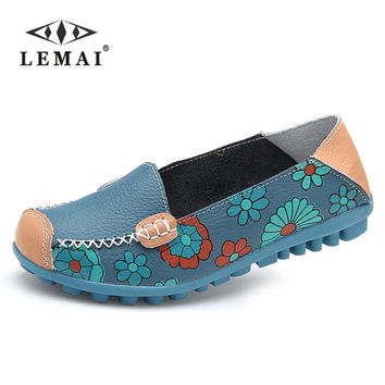LEMAI Spring women flats shoes women genuine leather shoes woman cutout loafers slip on ballet flats boat shoes #3591