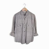 Vintage 90s Boyfriend Shirt in Gray Dot - women's large
