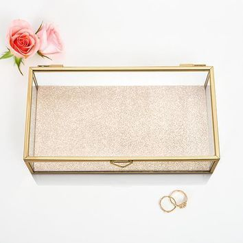 Glass Jewelry Box with Gold Edges (Pack of 1)