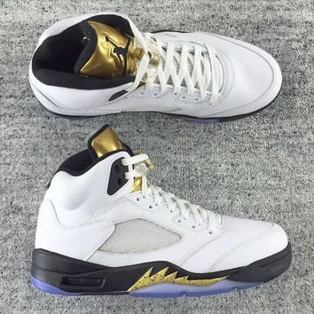 Air Jordan 5 Retro Olympic White/Metallic Gold Coin AJ5 Sneakers - Best Deal Online