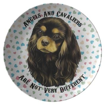 Cavalier King Charles Spaniel Gifts - Black And Tan Cavalier Dinner Plate - Angels and Cavaliers