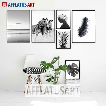 Sea Zebra Pineapple Feather Landscape Wall Art Canvas Painting Nordic Posters And Prints Wall Pictures For Living Room Decor
