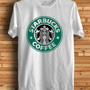 New Starbucks Coofee Funny Logo Men White T Shirt