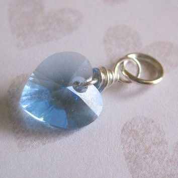 Aquamarine Blue Swarovski Crystal Aquamarine Blue Heart Sterling Silver Wire Wrapped Briolette Drop, 1 pc, Gemstone Dangle, March Birthstone