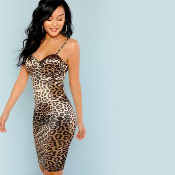Multicolor Sexy Club Leopard Print Bustier Natural Waist Skinny Slip Cami Dress Party Women Short Dresses