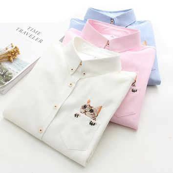 STYLISH SWEET CAT EMBROIDERY TURN DOWN COLLAR SHIRT