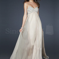 Appealing Ivory A-line Sweetheart Neckline Floor Length Sequins Chiffon Prom Dress