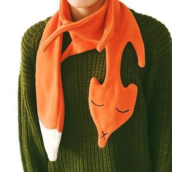 Orange Fox Shaped Wrap Around Fleece Scarf for Kids and Adults