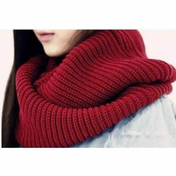 New Arrive Men Women's Nice Winter Warm Infinity 2circle Cable Knit Cowl Neck Long Scarf Shawl  Y107