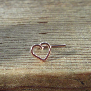 Nose & Tragus Stud Pink Gold Plain Tiny Open Heart