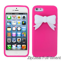 Cute Pink White Bow Soft Rubber Silicone Skin Case Cover for Apple iPhone 5 5g